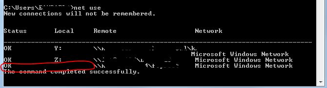 The Network folder specified is currently mapped using a different